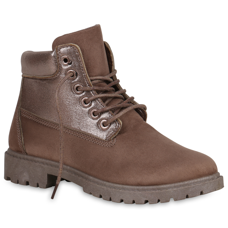894187 Damen Worker Boots Glitzer Profilsohle Outdoor Stiefeletten Schuhe Mode