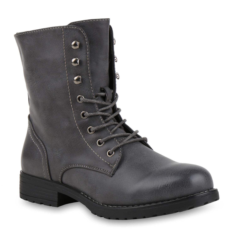 895908 Damen Schnürstiefeletten Profilsohle Stiefeletten Stiefel Mode