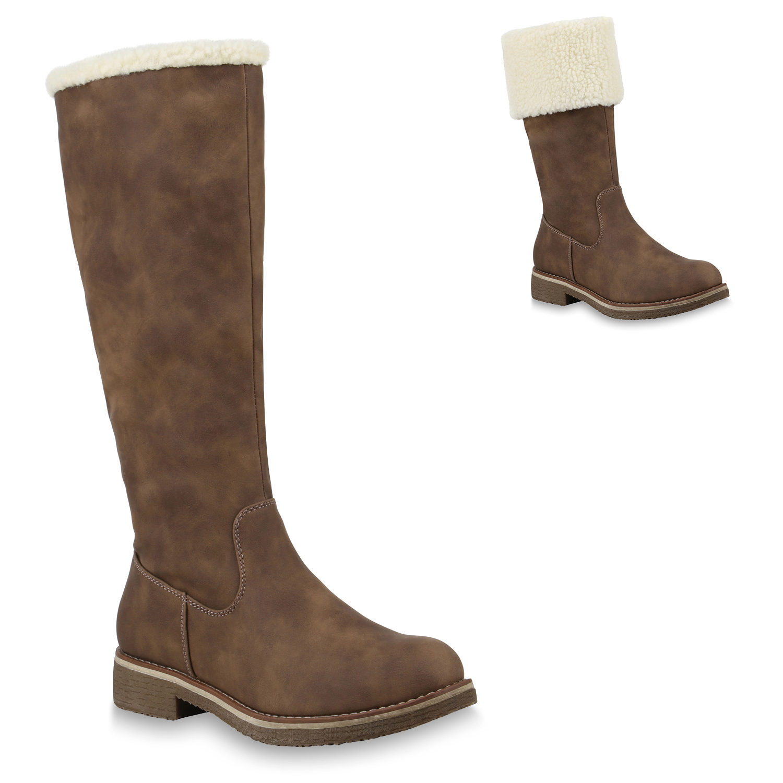 894379 Damen Schlupfstiefel Warm Gefütterte Stiefel Nieten Winter Schuhe Mode