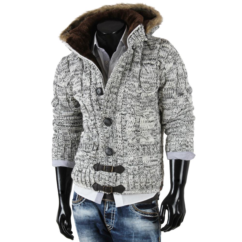 tazzio herren kapuzen jacke 85284 grobstrick strickjacke cardigan winter ebay. Black Bedroom Furniture Sets. Home Design Ideas