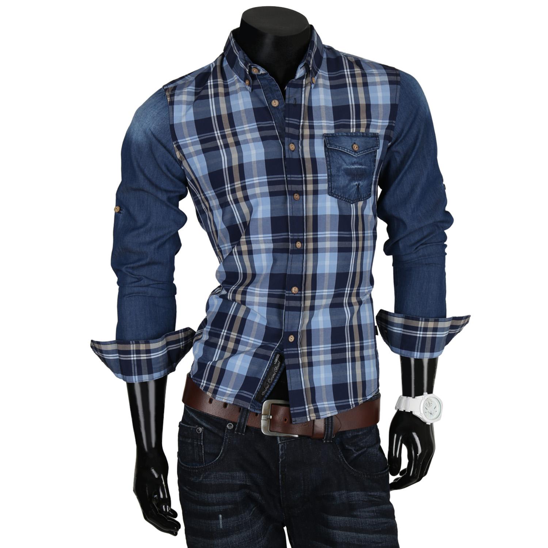 CARISMA Top Herren Jeans Hemd 85460 Langarm Freizeit Polo Shirt T-Shirt Neu