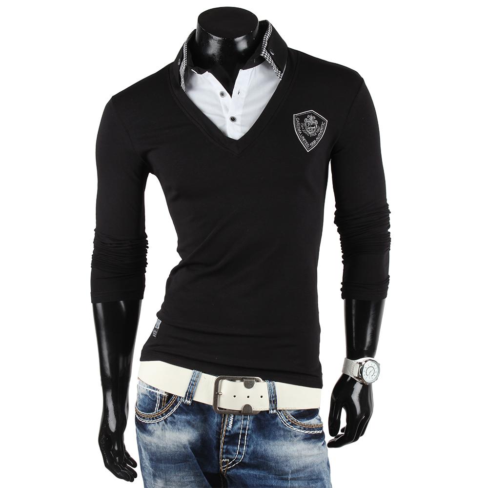 CARISMA Herren Longsleeve 85468 2in1 Langarm Pullover Polo T-Shirt Hemd Neu