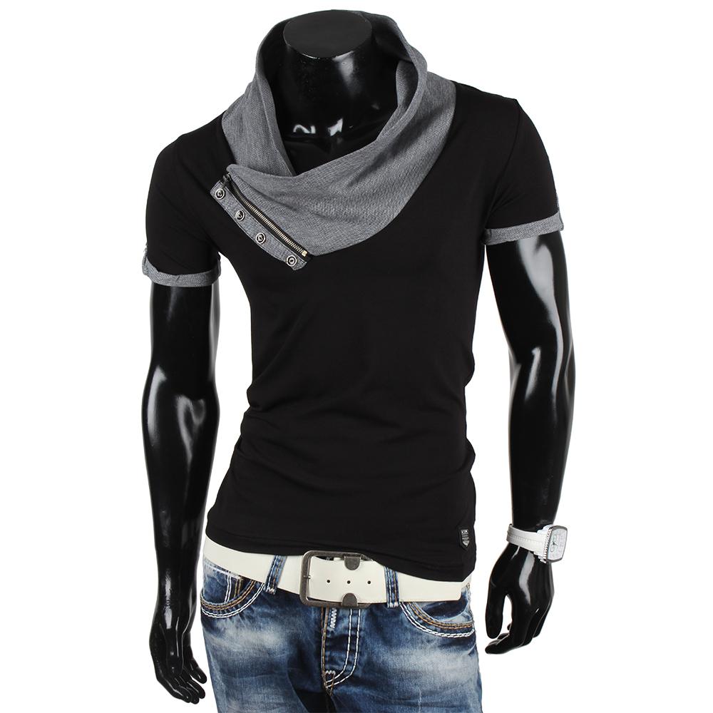 R-NEAL Top Herren T-Shirt 85496 Kurzarm High Neck Hemd Clubwear Neu