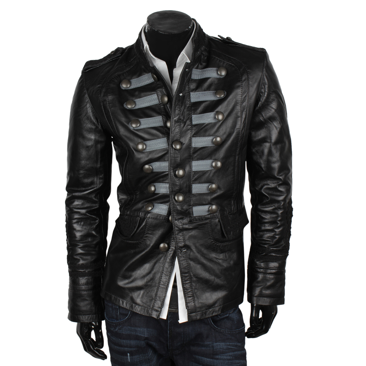 van hill herren lederjacke 87085 uniform leder slim biker. Black Bedroom Furniture Sets. Home Design Ideas