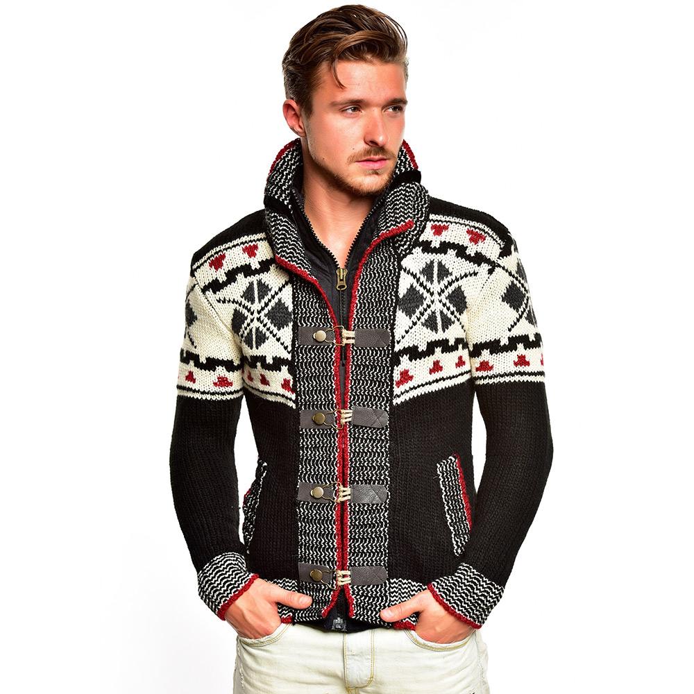 tazzio herren strickjacke 85794 grobstrick jacke sweatshirt pullover winter neu ebay. Black Bedroom Furniture Sets. Home Design Ideas