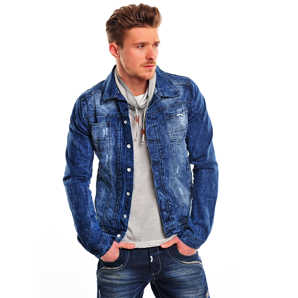 tazzio herren jeans jacke 85924 denim jacket biker bergangsjacke blau neu ebay. Black Bedroom Furniture Sets. Home Design Ideas